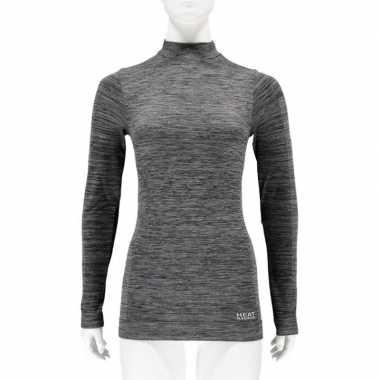2x thermo shirt zwart melange lange mouw voor dames t-shirt