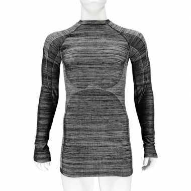 2x thermo shirt zwart melange lange mouw voor heren t-shirt