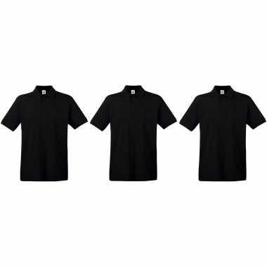 3-pack maat 2xl - zwarte poloshirts / polo t-shirts premium van katoen voor heren