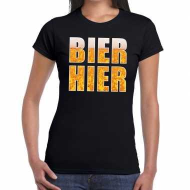Bier hier tekst t-shirt zwart dames