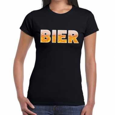Bier tekst t-shirt zwart dames
