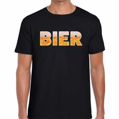 Bier tekst t-shirt zwart heren
