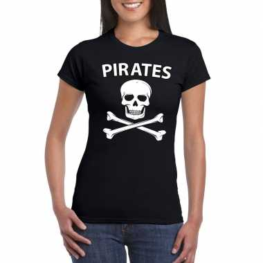 Carnavalskleding piraten shirt zwart dames t-shirt