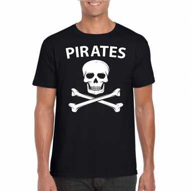 Carnavalskleding piraten shirt zwart heren t-shirt