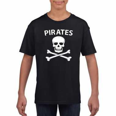 Carnavalskleding piraten shirt zwart kinderen t-shirt