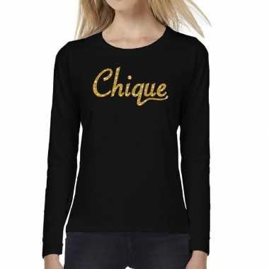Chique goud glitter tekst t-shirt long sleeve zwart voor dames
