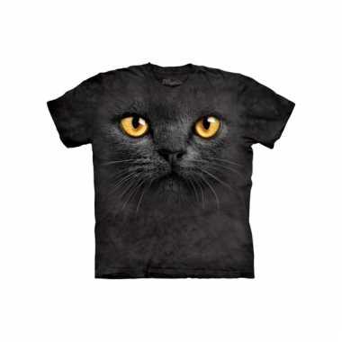 Dieren shirts zwarte kat kids t-shirt
