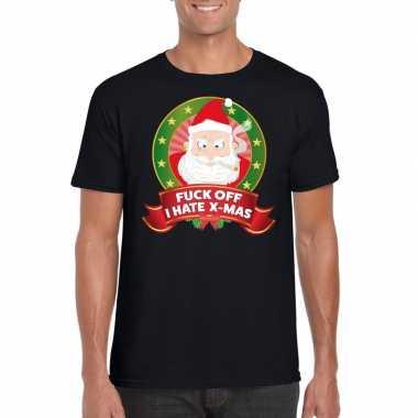 Foute kerstmis shirt zwart fuck off i hate x-mas voor mannen t-shirt
