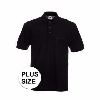 Grote maat horecakleding zwart poloshirt korte mouw t-shirt