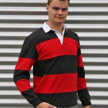 Heren rugbyshirt zwart met rood t-shirt