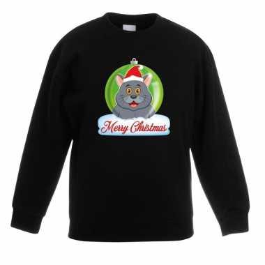 Kersttrui merry christmas grijze kat / poes kerstbal zwart kinde t-s
