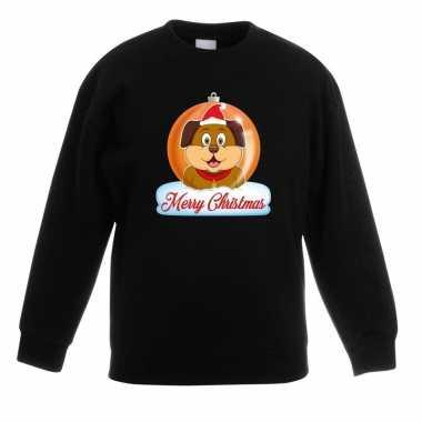 Kersttrui merry christmas hond kerstbal zwart kinderen t-shirt