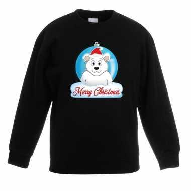 Kersttrui merry christmas ijsbeer kerstbal zwart kinderen t-shirt