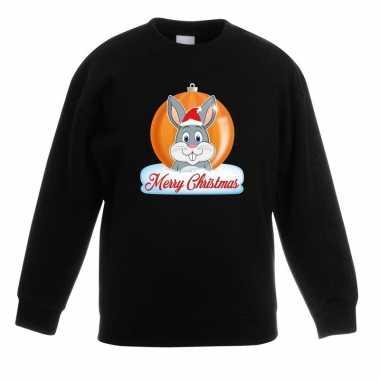 Kersttrui merry christmas konijn kerstbal zwart kinderen t-shirt