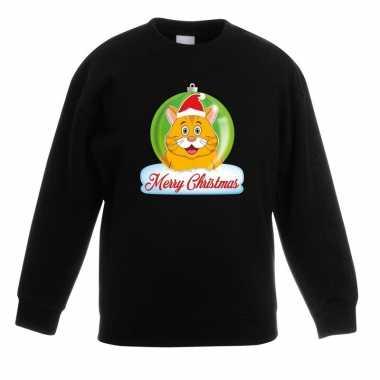 Kersttrui merry christmas oranje kat / poes kerstbal zwart kinde t-s