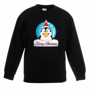 Kersttrui merry christmas pinguin kerstbal zwart kinderen t-shirt