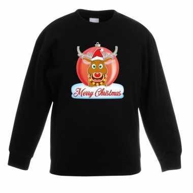Kersttrui merry christmas rendier kerstbal zwart kinderen t-shirt