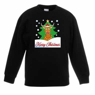 Kersttrui merry christmas rendier zwart kinderen t-shirt