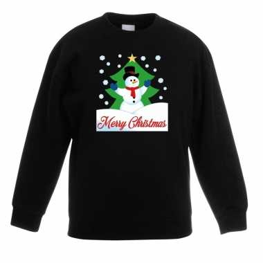 Kersttrui merry christmas sneeuwpop zwart kinderen t-shirt