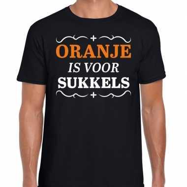 Koningsdag shirts zwart oranje is voor sukkels heren t-shirt