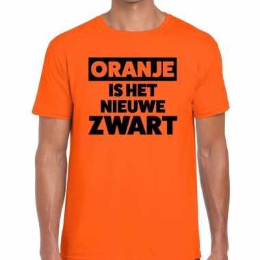 Oranje is het nieuwe zwart koningsdag t-shirt heren