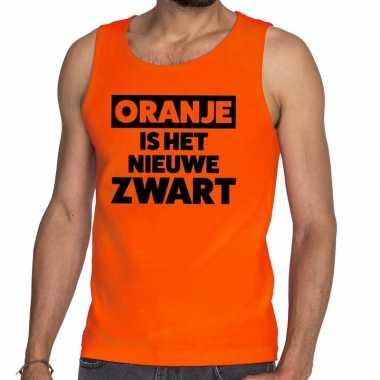 Oranje koningsdag oranje is het nieuwe zwart tanktop heren t-shirt