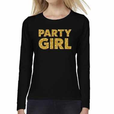 Party girl goud glitter t-shirt long sleeve zwart voor dames