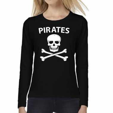 Pirates tekst t-shirt long sleeve zwart voor dames