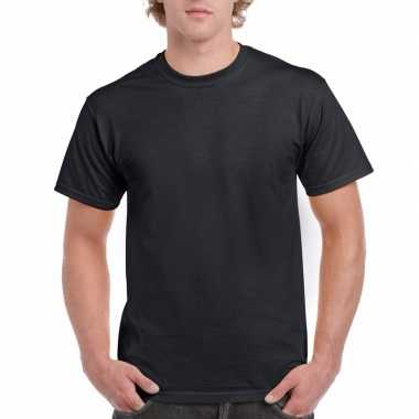 Set van 2x stuks goedkope gekleurde t-shirts zwart voor heren, maat: s (36/48)