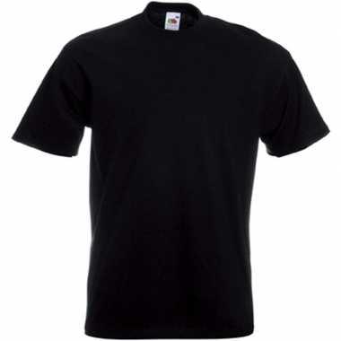 Set van 3x stuks grote maten zwarte t-shirts met korte mouwen voor heren, maat: 3xl (46/58)