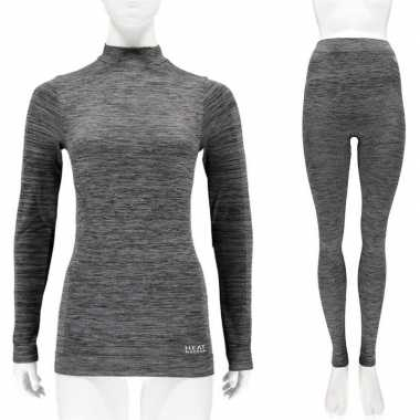 Thermo kleding set shirt en broek zwart melange dames maat s t-shirt