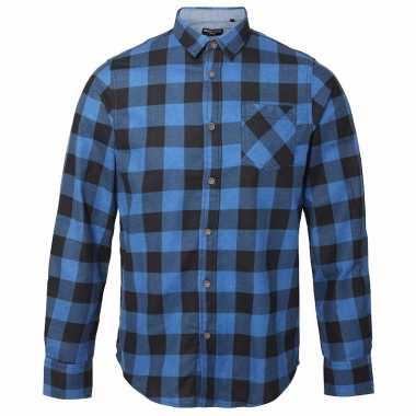 Trucker overhemd geblokt blauw zwart t-shirt