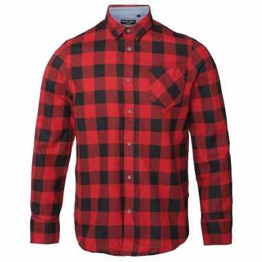 Trucker overhemd geblokt rood zwart t-shirt
