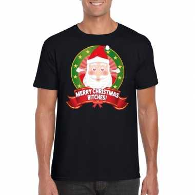 Ugly kerstmis shirt zwart merry christmas bitches voor mannen t-shir