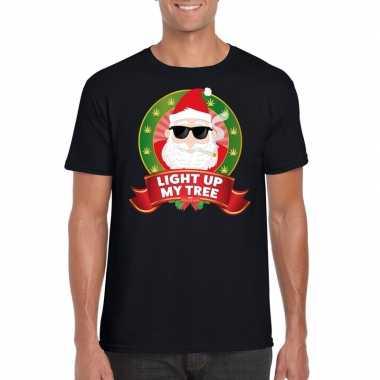 Ugly kerstmis shirt zwart wiet rokende kerstman voor mannen t-shirt