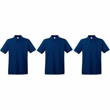 Zwart 3-pack maat s - donkerblauwe/navy poloshirts / polo t-shirts premium van katoen voor heren