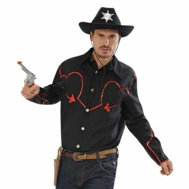 Zwart cowboy overhemd met rode afwerking t-shirt