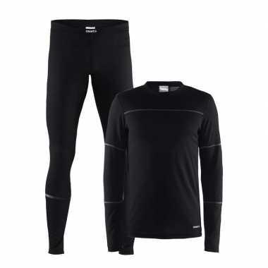Zwart craft postbode thermo lang ondergoed voor heren t-shirt