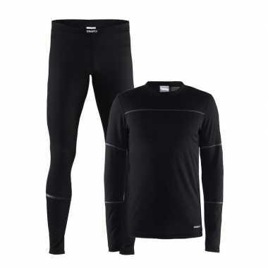 Zwart craft thermo hardloop lang ondergoed voor heren t-shirt