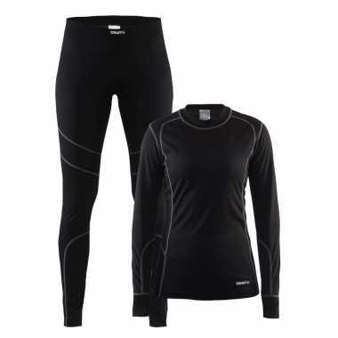 Zwart craft thermo lang ondergoed voor dames t-shirt
