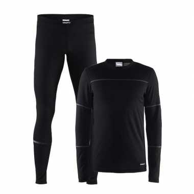 Zwart craft thermo sportkleding lang ondergoed voor heren t-shirt