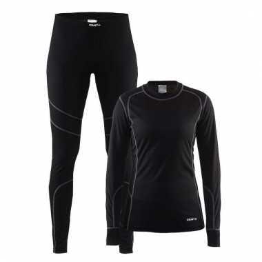 Zwart craft wintersport thermo lang ondergoed voor dames t-shirt