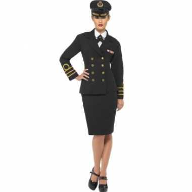 Zwart dames kapitein kostuum t-shirt