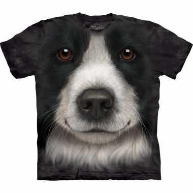 Zwart dieren shirts border collie hond voor kinderen t-shirt