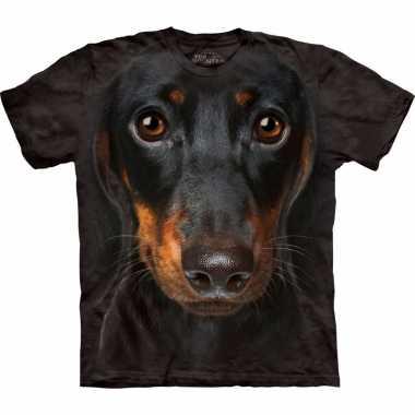 Zwart dieren shirts pincher hond voor volwassenen t-shirt