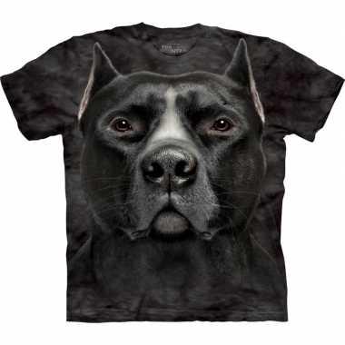 Zwart dieren shirts pitbull hond voor volwassenen t-shirt