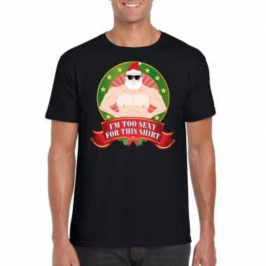 Zwart foute kerstmis t-shirt im too sexy for this shirt voor mannen