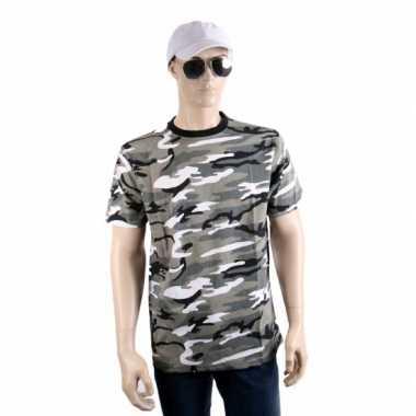 Zwart grijs camouflage shirt korte mouw t-shirt