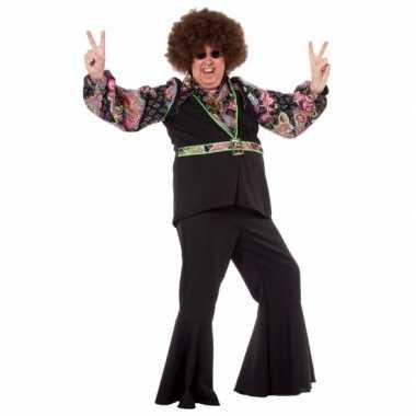 Zwart grote maat hippie shirt voor heren t-shirt