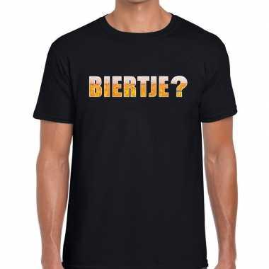 Zwart heren shirt met biertje bedrukking t-shirt